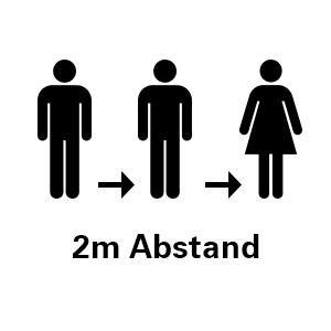 Bitte halten Sie 2 Meter Abstand